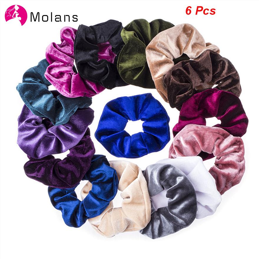 Molans 6 Pcs Velvet Hair Scrunchies Solid Color Hair Ponytail Holder Scrunchy Ring Elastic Hair Ties For Girl Hair Accessories