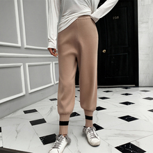 adohon 2019 woman winter Cashmere Pants and auntmun Loose knitted Pencil High Quality Warm Female Elastic Waist Patchwork Solid