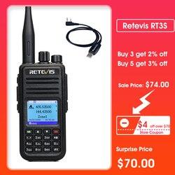 RETEVIS RT3S DMR Radio Digital Walkie Talkie con GPS DMR Radio Amador 5W DMR VHF UHF de banda Dual Compatible con prortable radios con GPS de Mototrbo/TYT DMR