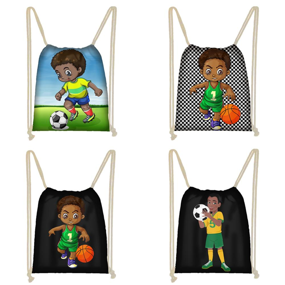 Twoheartsgirl Afro Boys Print Drawstring Bag Africa Brown Black Boys Storage Bag Teenager Soft Backpack Kids Bookbag Gift