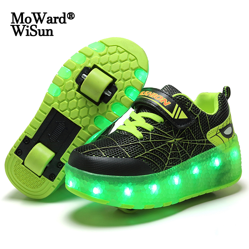 Size 28-40 Kids Glowing LED Wheels Shoes for Boys Luminous Roller Skate Shoes with Lights USB Charged Children Shoes on Wheels