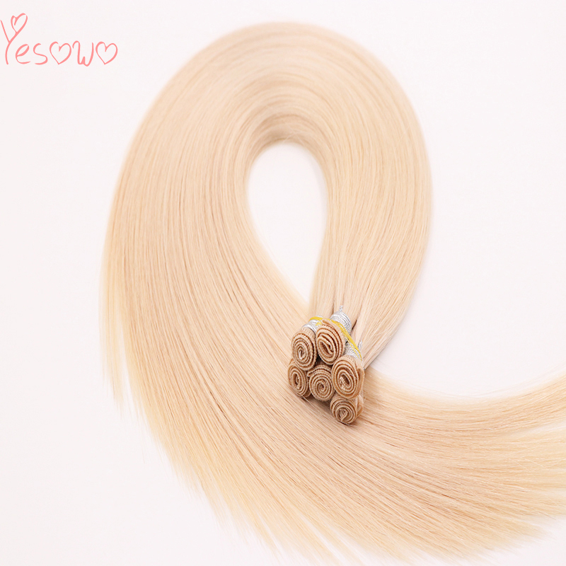 Yesowo 2019 New Hair Trends Indian Remy Human Hair Weave 100g 6PCS 60# Blonde Straight Hand Tied Weft For White Women