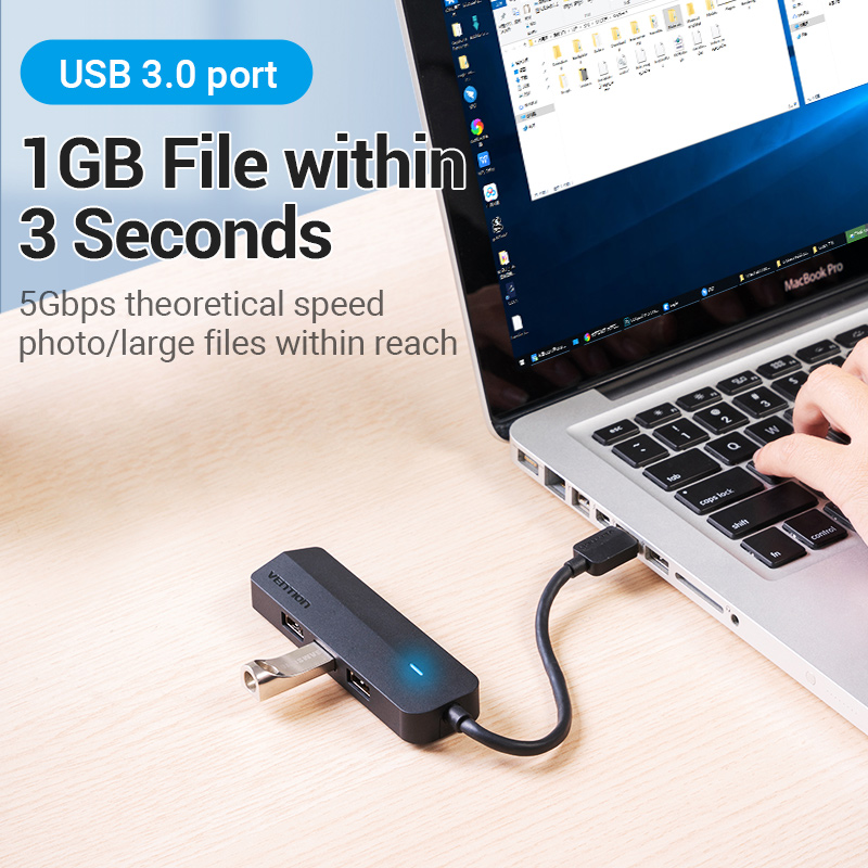 Vention USB 3.0 Hub 3 Ports USB Sound Card 2 in 1 External Stereo Audio Adapter 3.5mm with Headphone Microphone USB Sound Card 5