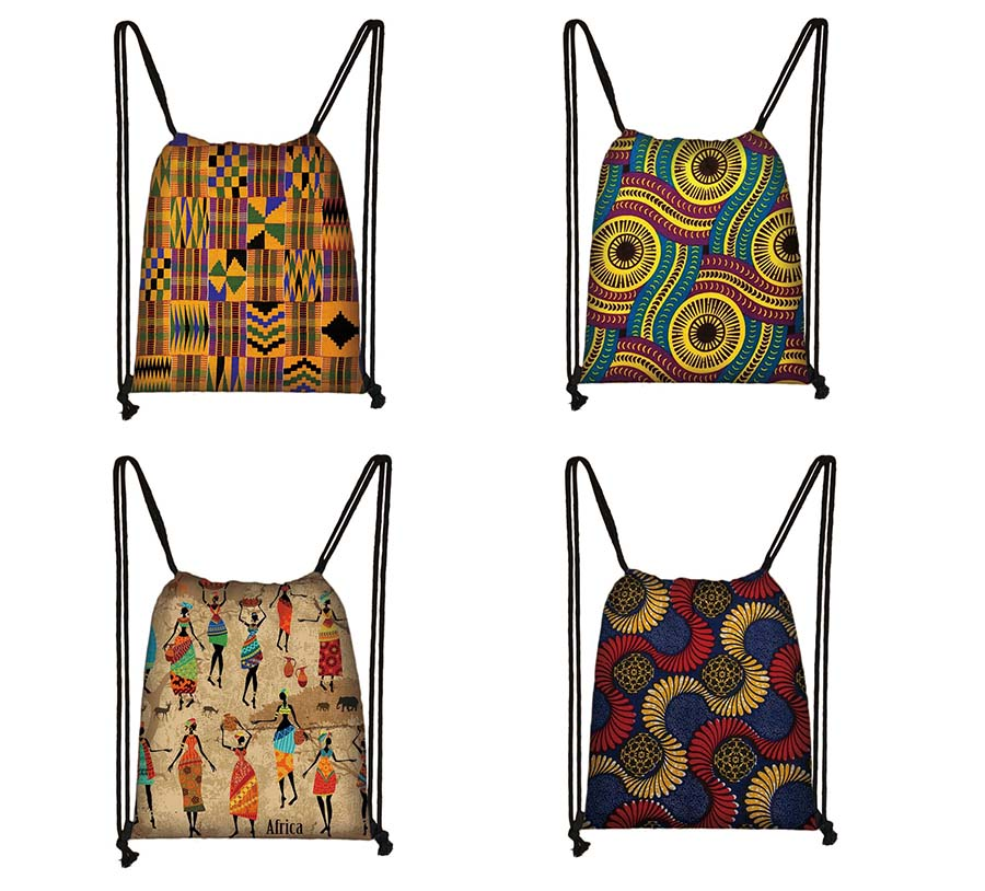African Drawstring Bag Printed Daypack Girls Travel Bag Small Backpack Beach Pouch Kids Gift Storage Bag