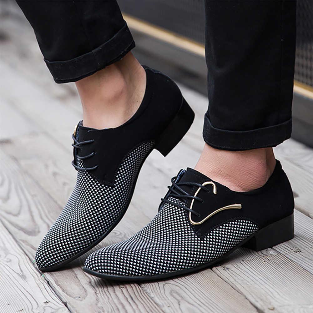 ผู้ชายลายสก๊อตหนังรองเท้าแฟชั่นลูกไม้ขึ้นชี้รองเท้าToeอย่างเป็นทางการสำนักงานธุรกิจชุดรองเท้าLoafers 2019