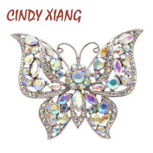 Coat Brooch Pin Insect Cindy Xiang Fashion Jewelry Rhinestone Winter Butterfly 2-Colors