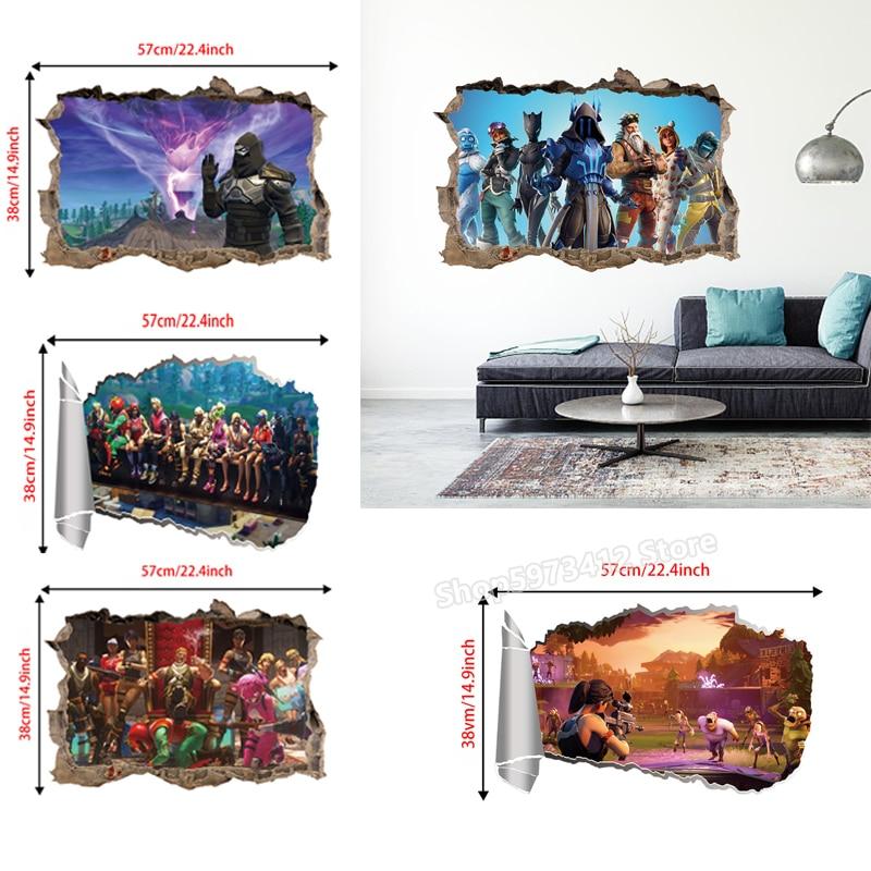 Noite fortaleza adesivos de parede 3d temporada 8 fortnites quarto sala estar acessórios decorativos estilo dos desenhos animados decorações parede