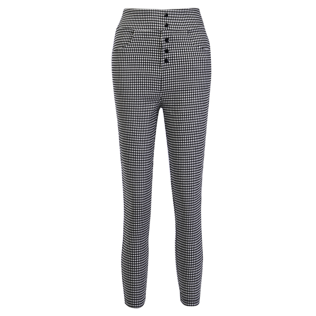 InstaHot High Waist Pants Autumn Elegant Trousers Women Grey Plaid Button Front Ladies Pencil Skinny Pants Casual Streetwear