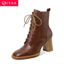 QUTAA 2021 Square High Heel Autumn Winter Short Boots Quality Cow Leather Ankle