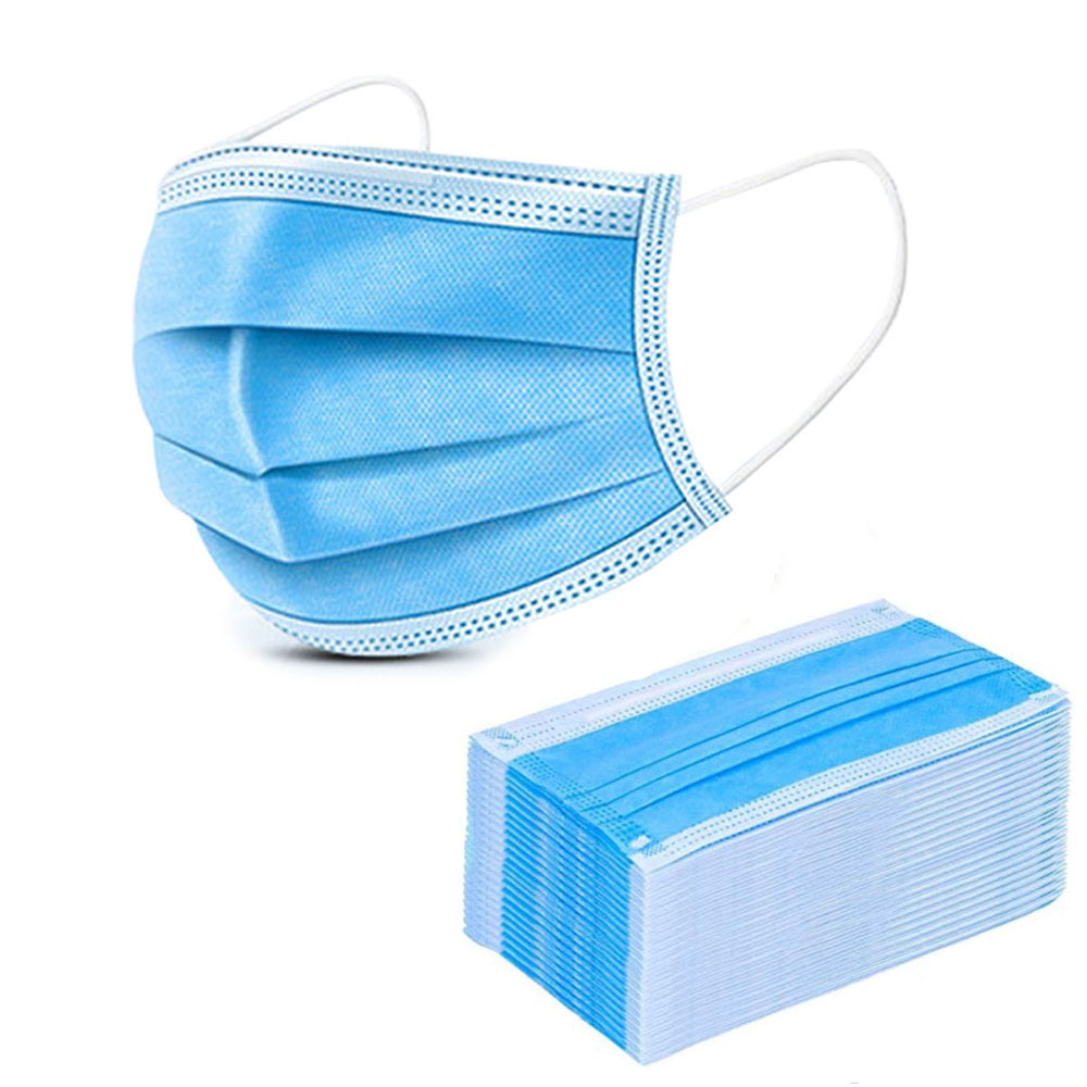 50 Pcs Disposable Powder Surgery Operating Room Hook Facemasks White/blue Masks