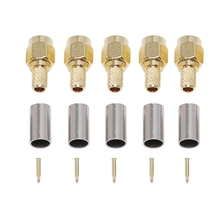 цена на 5pcs SMA Male Plug RF Coaxial Connector Crimp for RG58 RG142 RG400 LMR195 RG223