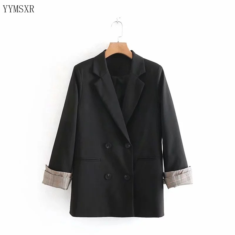 Feminine blazer coat 2020 New Fall Loose Black Ladies Jacket Top Female Double-breasted mid-length women's small suit