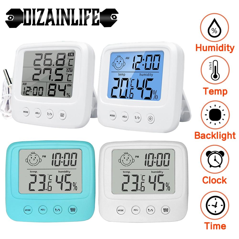 Комнатный цифровой термометр-гигрометр с ЖК-экраном, миниатюрная уличная Электронная метеостанция для измерения температуры и влажности д...