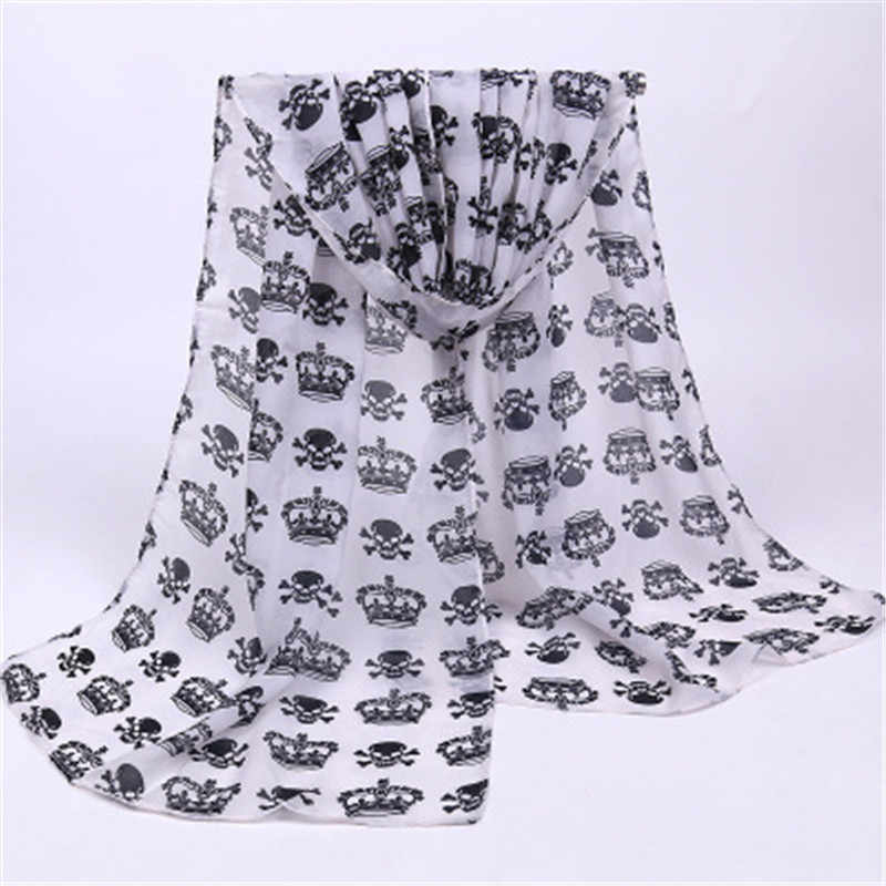 2019 Print Heart Skull Star Striped Chiffon Long Thin Women Girl Shawl Wrap Pashimina Scarf Soft Fashion Accessories-MHC-W6
