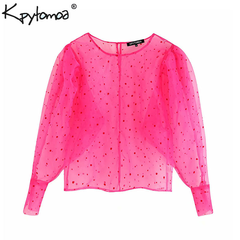 Vintage Stylish Polka Dot Organza Blouses Women 2019 Fashion O Neck Long Sleeve See Through Sexy Shirts Blusas Mujer Chic Tops