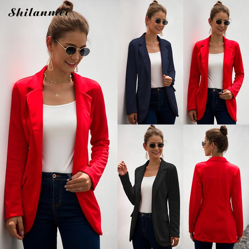 2019 Autumn Women Office Blazer Ladies Elegant Business Jacket Long Sleeve Solid Red Black Slim Blazers Women Thin Fashion Coat