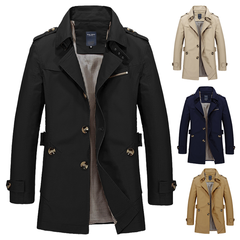 12 Colors Mens Spring Autumn Jacket Long Windbreaker Quality Military Slim Fit   Trench   Coat Overcoat Masculina Cotton Outwear Men