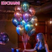 Купить с кэшбэком 10pcs 12inch Gold Silver Chrome Metallic Latex Balloons Pearly Metal Globos Wedding Baby Shower Birthday Party Decor Balloons