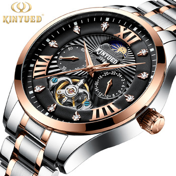 KINYUED brand Swiss diamond men fully automatic watch fashion moon phase hollowed out Tourbillon luminous mechanical wristwatch