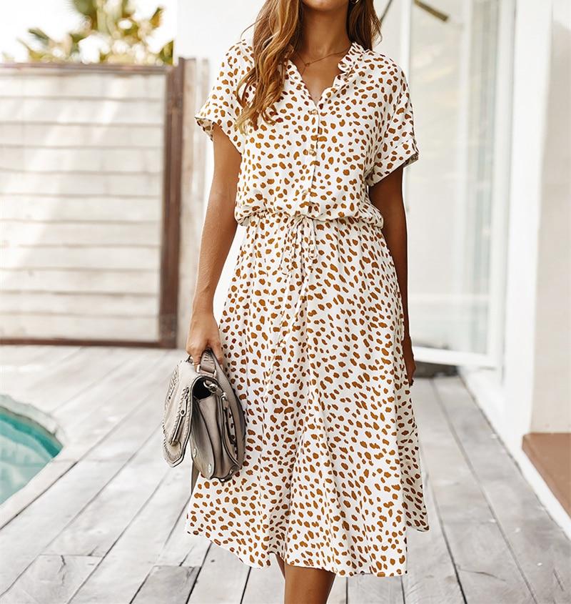 Ladies Bohemian Leopard Print Shirt Dress Women Casual Midi Holiday Summer Dress Female A line Loose