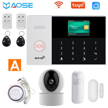 цена на TUYA Wifi Gsm alarm smart home system Ios Android APP Control with smoke detector siren IP camera Wired Wireless  security alarm