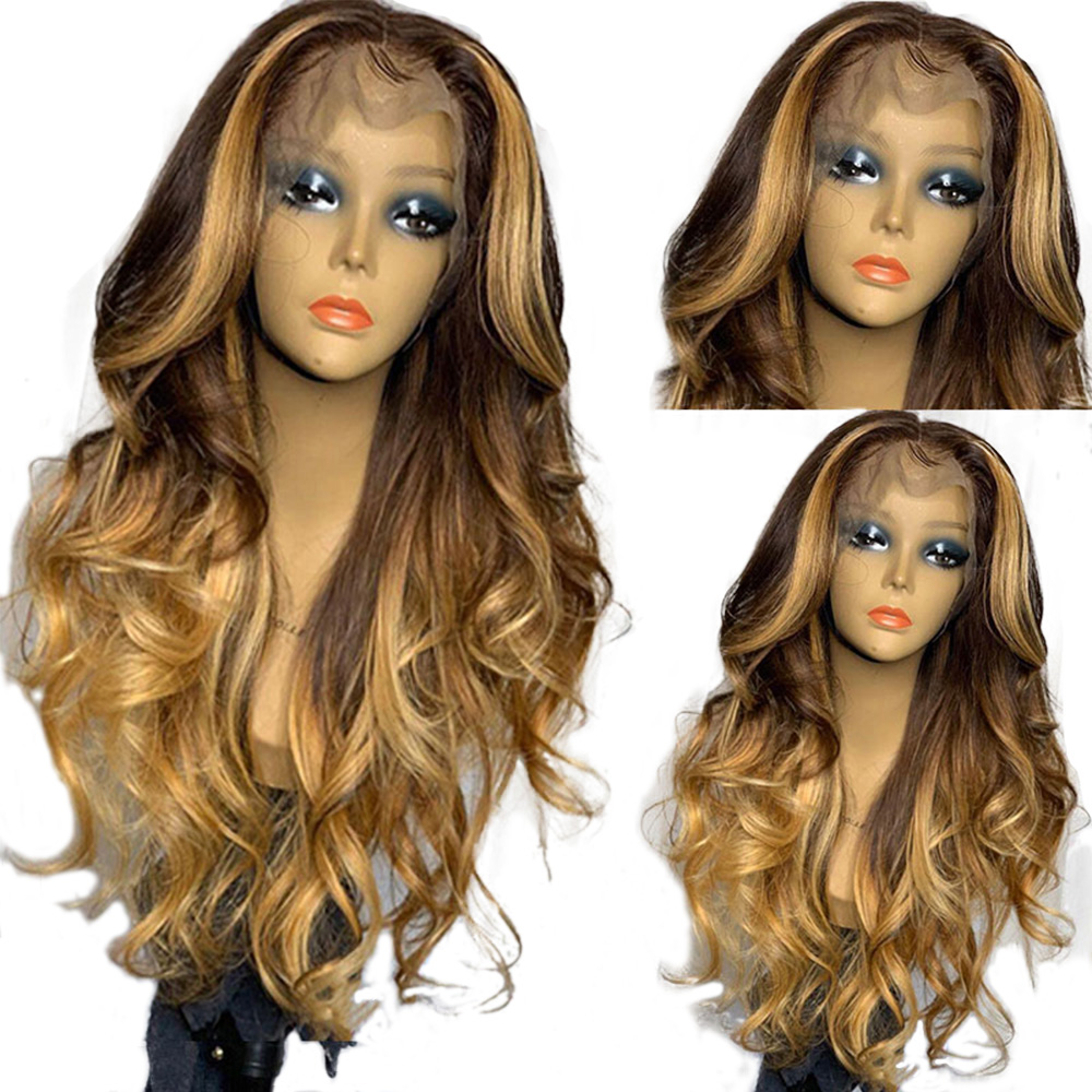 Eversilky Omber Blond 13x4 Lace  Front Wig Pre Plucked Brazilian Remy Body Wave Highlights Brown Human Hair Wigs With Baby Hair