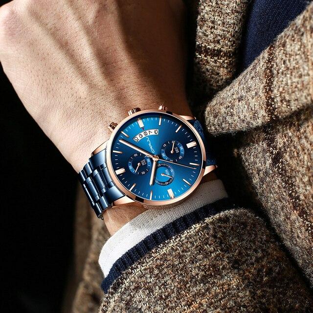 CRRJU niebieskie męskie zegarki ze stali nierdzewnej Top marka luksusowe mężczyźni sport Chronograph zegarki kwarcowe zegar Relogio Masculino