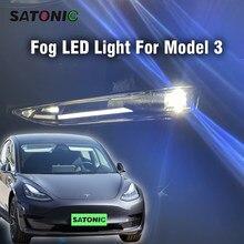Satonic frente luzes de nevoeiro stroble led luz para tesla modelo 3 montagem da lâmpada exterior acessórios automóveis