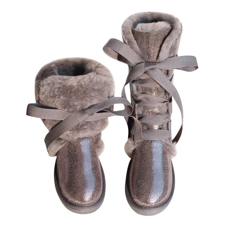 GY ve YY koyun yünü bot ayakkabı hakiki koyun derisi botları diz-yüksek kar botları Lace-Up koyun kürk uzun çizme kız yay düz kış ayakkabı