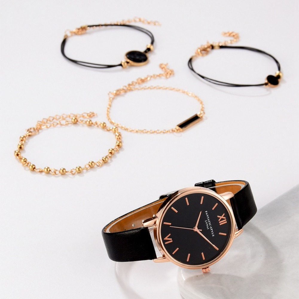 Top Style Fashion Women's Luxury Leather Band Analog Quartz Wrist Watch 5pcs Set