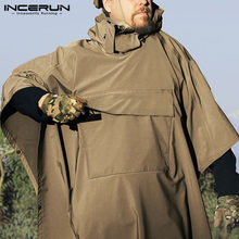 INCERUN Men Leisure Sweatshirts Solid Color Irregular Hoodies Loose Pockets Pullovers Man Outdoor Cloak Hombre Poncho Capes 5XL7