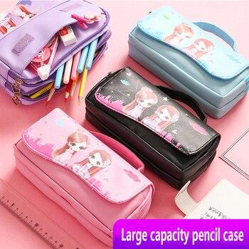 Large capacity pencil case pencil case makeup pencil case MBD021-024-7 cute pencil case female pencil case school pencil case цена 2017