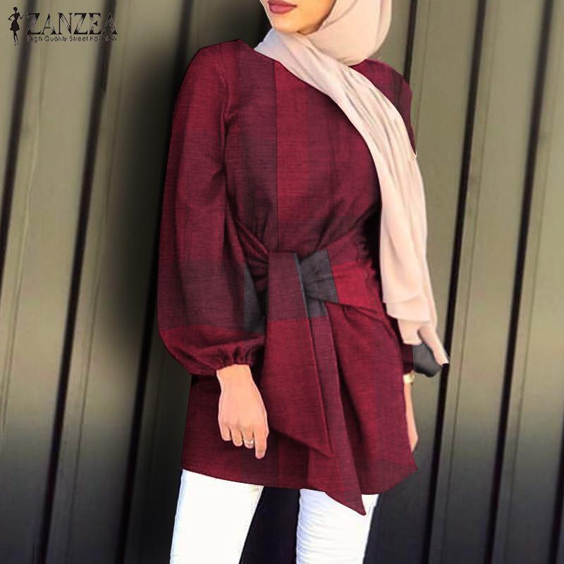 Muslim Fashion ZANZEA Asymmetrical Women Blouse 2021 Spring Ladies Plaid Lace Up Blouse Casual O neck Loose Kanftan Blusas 5XL
