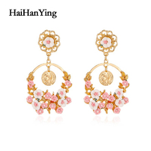 Exaggerated Retro Big Round Flower Womens Earrings Beautiful Baroque Simple Luxury Charm Jewelry Country Style