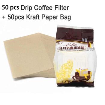 50/100/200 Â�ットコンビネーションコーヒーフィルターバッグとクラフト紙コーヒーバッグ、ポータブルオフィス旅行ドリップコーヒーフィルターツールセット