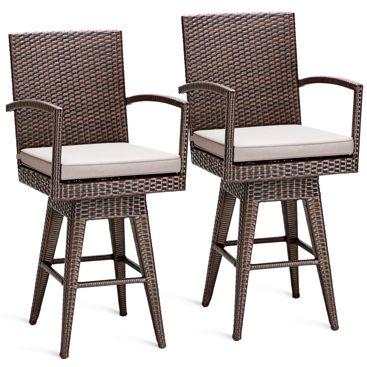 Costway 2PCS Rattan Swivel Bar Stool Chair Patio Backyard Furniture Seat Cushion