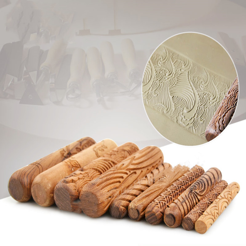Wood Texture Roll Pressed Printing Texture Tools Polymer Clay Ceramic Pottery Tools Rolling Pin 10pcs/set