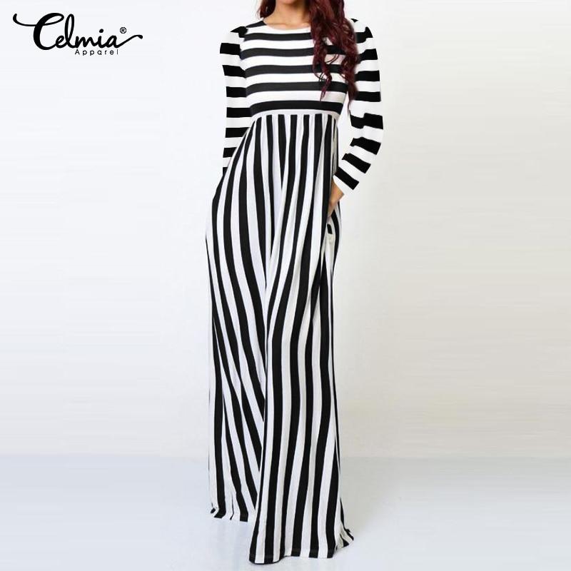 2019 Celmia Elegant Women Office Stiped   Jumpsuits   Autumn Casual Slim Long Sleeve Wide Leg Pants Long Pantalon Plus Size Overalls