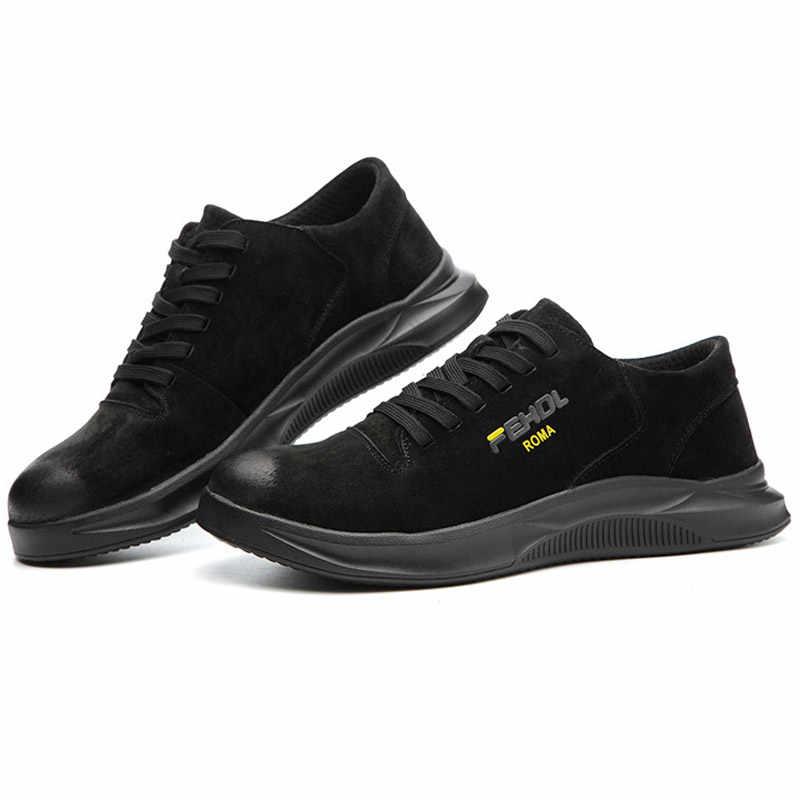 2019 男性鋼つま先の作業安全靴カジュアルな通気性アウトドアスニーカーパンク証拠分割革男性産業靴