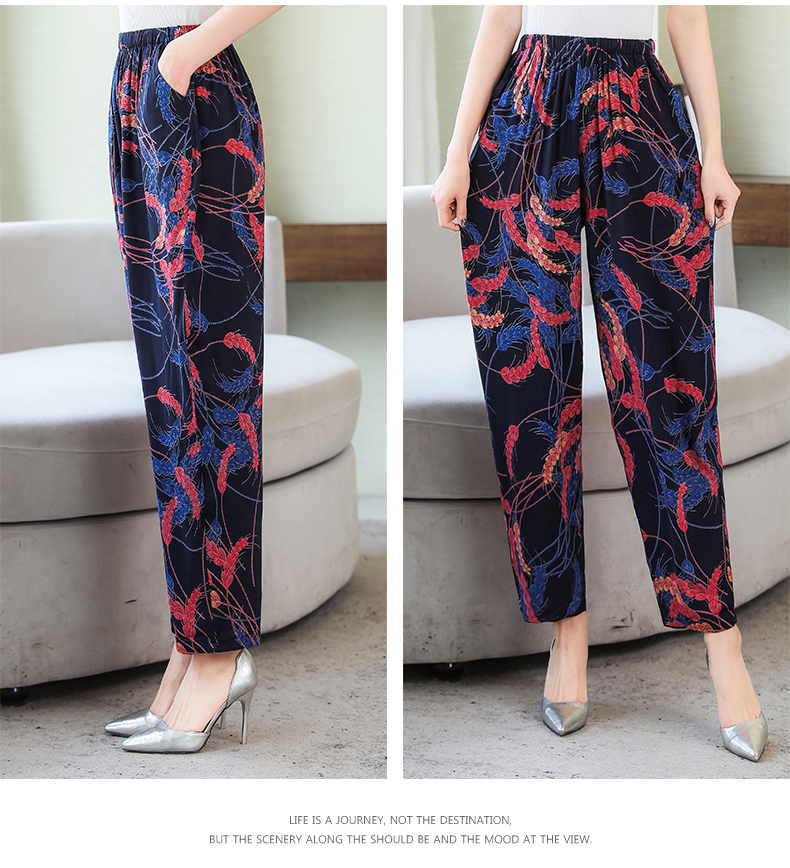 Vintage Elastic Waist Print Floral Wide Leg Pants 15