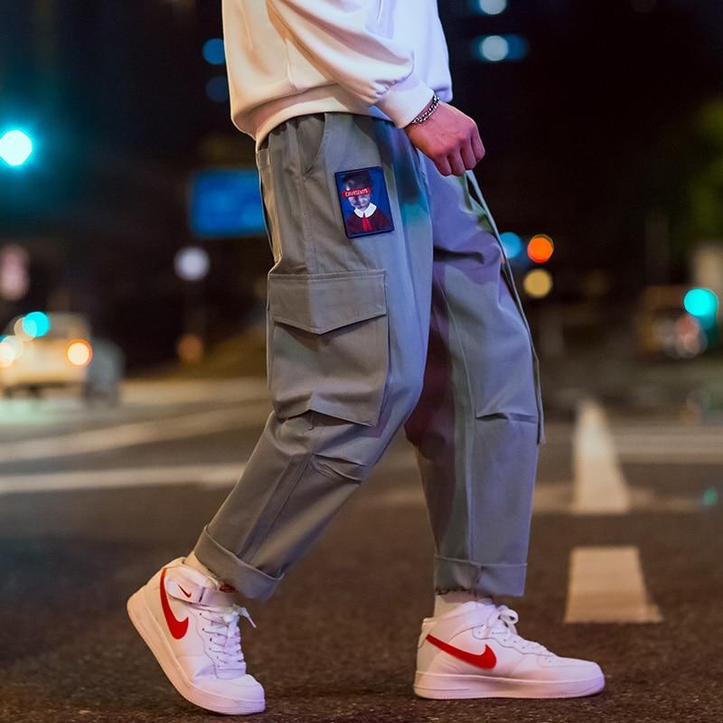 Japanese Streetwear Cargo Pants Men Women Ribbon Letter Embroidery Hip Hop Joggers Trousers Casual Pink Harem Pants
