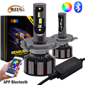 OKEEN RGB H7 светодиодные фары приложение Bluetooth Голосовое управление музыкой H1 H3 H8 H11 HB3 HB4 светодиодные фары разноцветные лампы H4 LED 12 в автомобиль