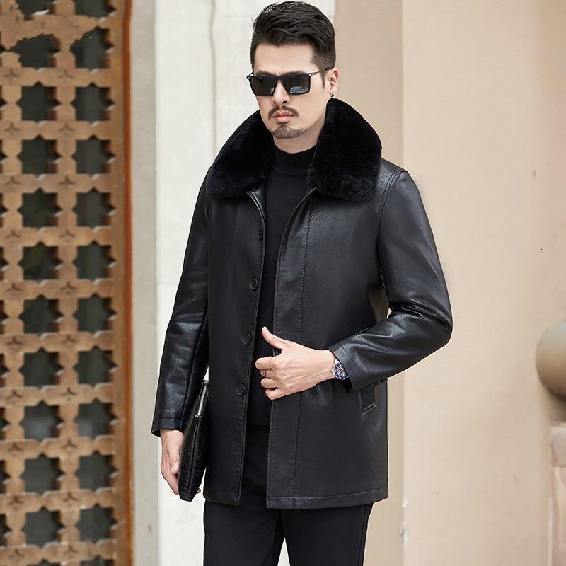 Royal Leather Outerwear Plus Size 8xl  7XL 6xl 5XL Men's Long Dark Black Leather Outerwear Fashion Sheepskin Outerwear