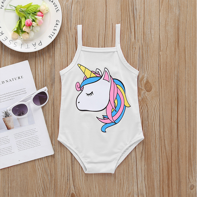 Summer Infants GIRL'S One-piece Swimming Suit Camisole Backless-Cute Cartoon My Little Avatar