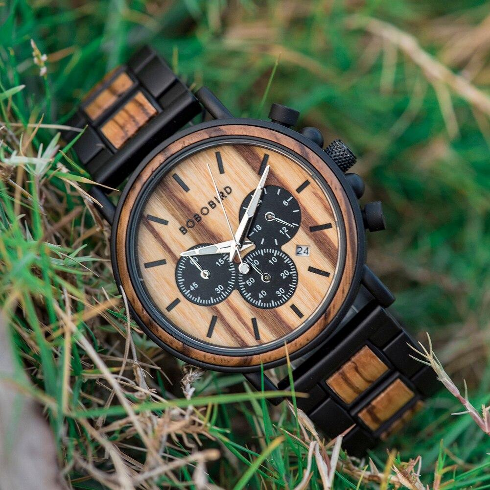 Hecfa822686cd4511ad4133b712274b3fi BOBO BIRD Wooden Watch Men erkek kol saati Luxury Stylish Wood Timepieces Chronograph Military Quartz Watches in Wood Gift Box