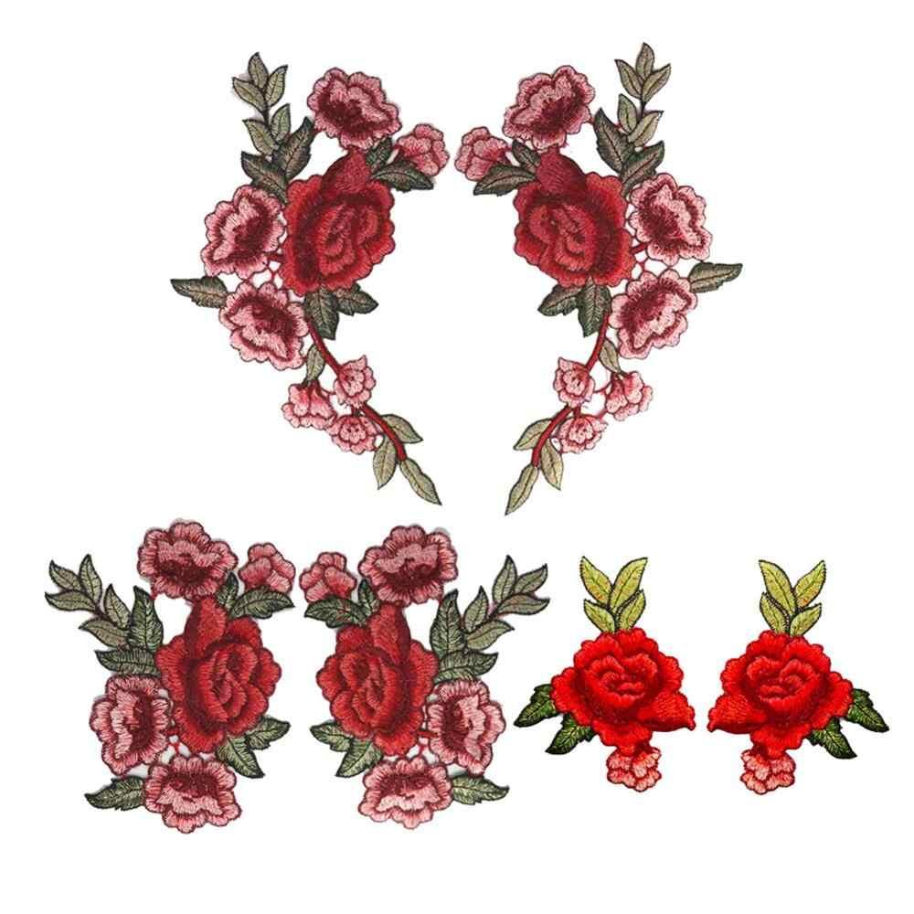 Badge brodé Roses/fleurs papillon | Patchs cousus appliqués, broderie, artisanat brodé, pour vêtements pantalons, diy, nouvelle marque