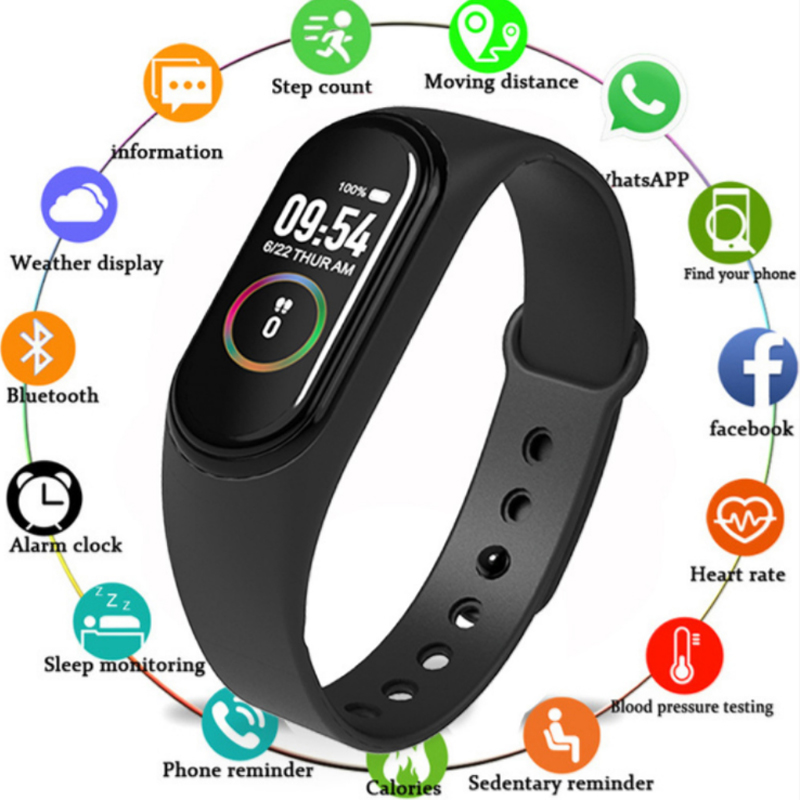 M4 Smart Band Wristbands Fitness Tracker Health Heart Rate Blood Pressure Bluetooth Sports Bracelet Smart Band Band Watch