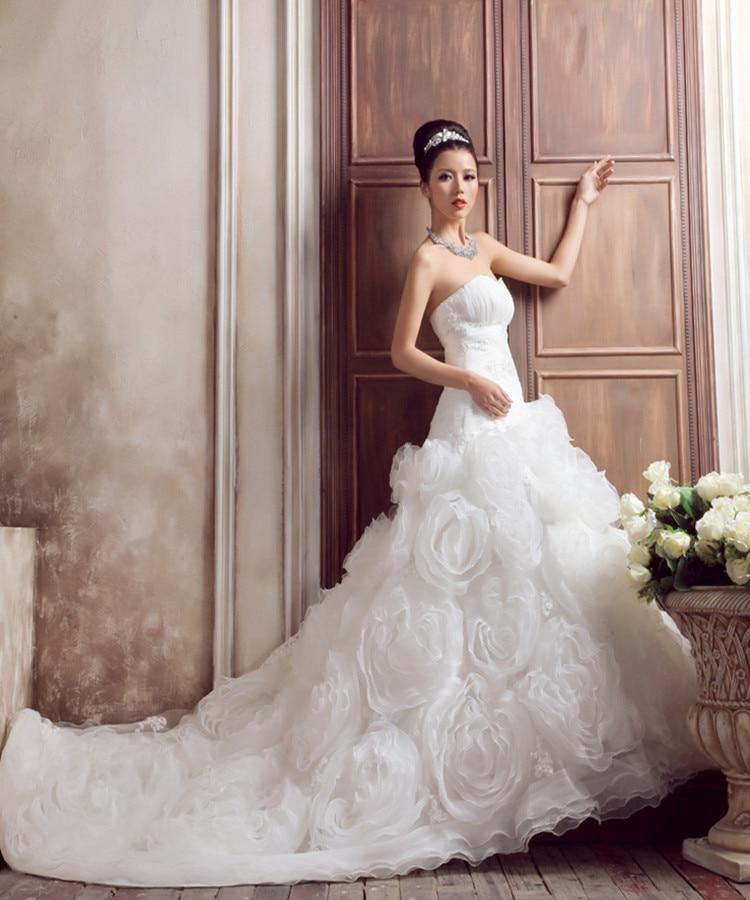 Free Shipping 2017 Long White Dresses Winter Luxury Wedding Dress Princess Prom Strapless Sweetheart Mermaid Wedding Dresses