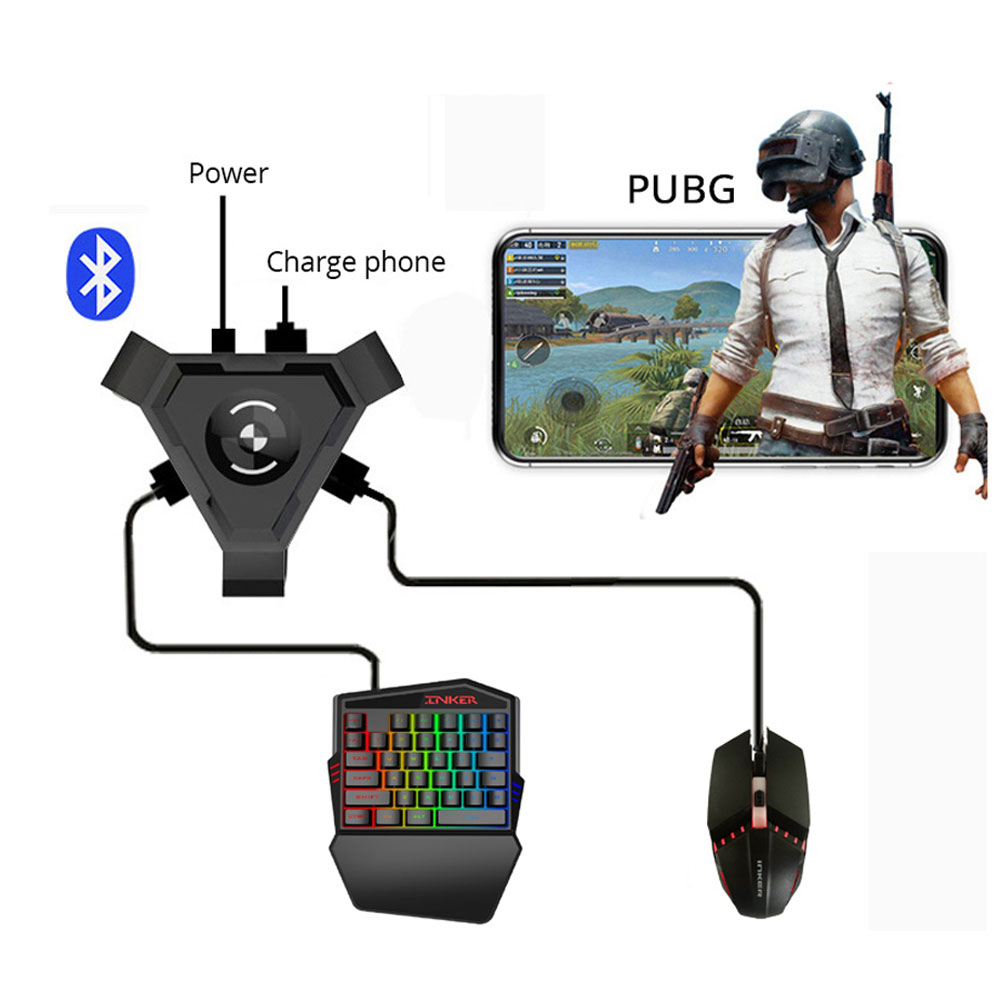 For FPS games PUBG COD mobile phone gamepad converter adapter using keyboard mouse playing game at universal phone image