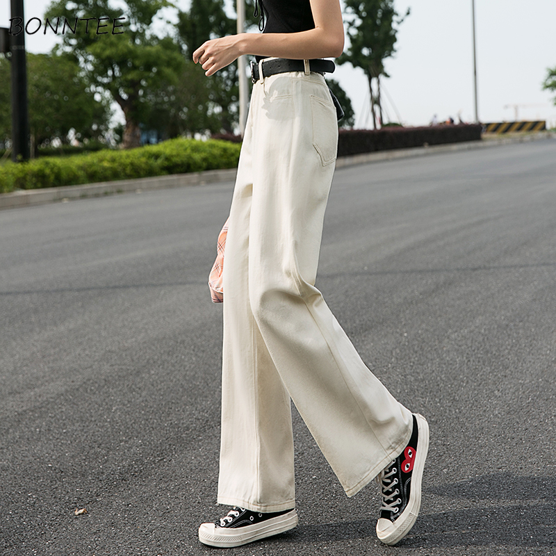 Jeans Women High Waist Loose Wide-leg Straight Elegant Full-Length Trousers Korean Style Denim Solid Womens All-match Streetwear